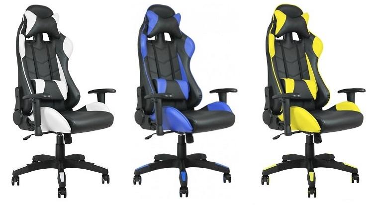Fauteuil racing noir-blanc, noir-bleu et noir-jaune